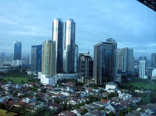 Primera vista de Jakarta desde el hotel.